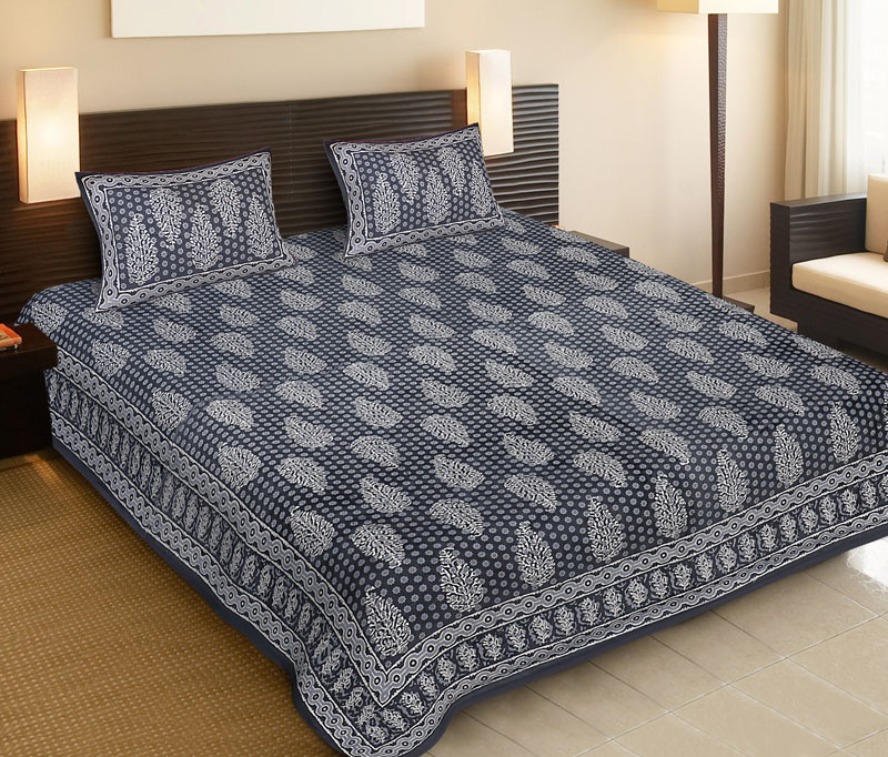 Light Gray Gray Cotton Jaipuri Bedsheet-523