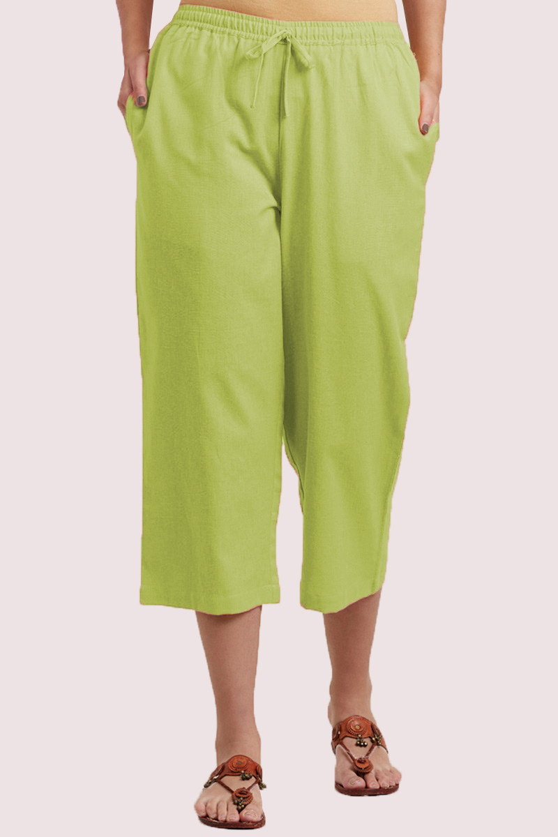 Light Green Cotton Solid Women Culottes-33859