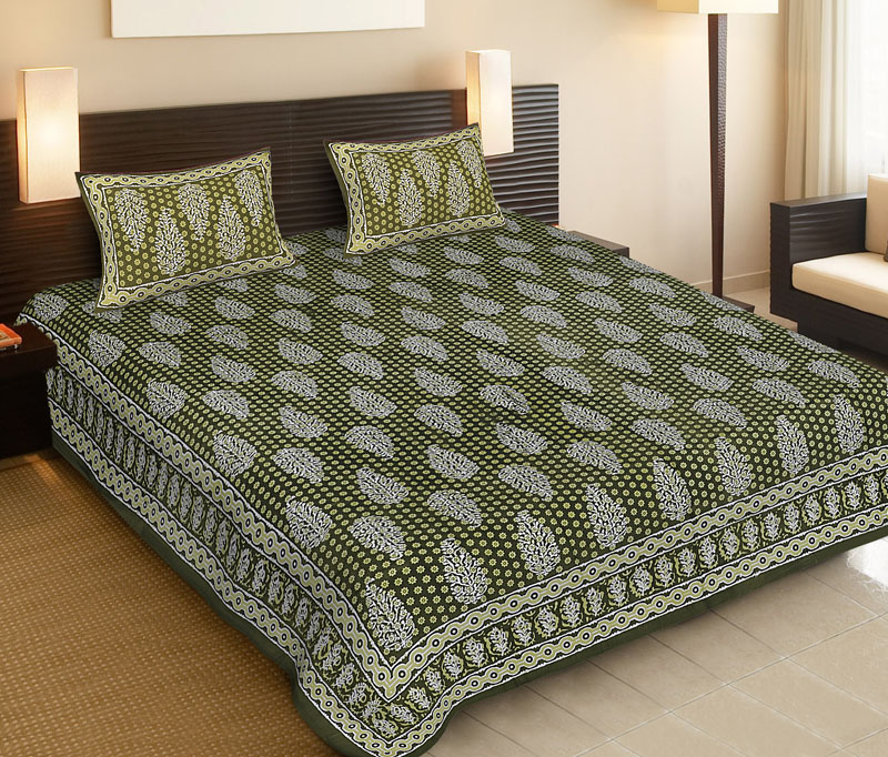Light Green Green Cotton Jaipuri Bedsheet-525