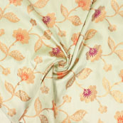 Light Green Orange and Golden Floral Brocade Silk Fabric-9078