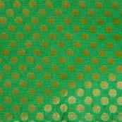 Light Green and Dark Brown Bold Dotted Brocade Silk Fabric-1082