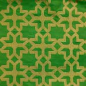 Light Green and Golden Flower Design Brocade Silk Fabric by the yard