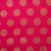 Light Maroon and Golden Circular Pattern Brocade Silk Fabric by the yard