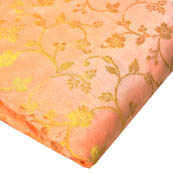 Light Pink and Golden Floral Design Brocade Silk Fabric-8169