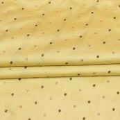 Light Yellow Golden Zari Dot Brocade Silk Fabric-9254