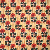 Light Yellow Red and Green Flower Block Print Cotton Fabric