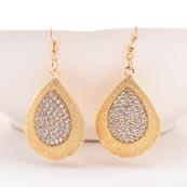 Love Design Golden Jhumki with White Stone for Women