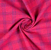 Magenta Pink Blue Check Handloom Cotton Fabric-40879