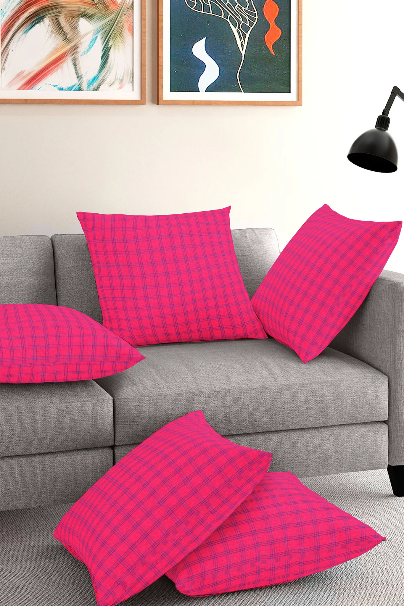 Set of 5-Magenta Pink Blue Cotton Cushion Cover-35384-16x16 Inches