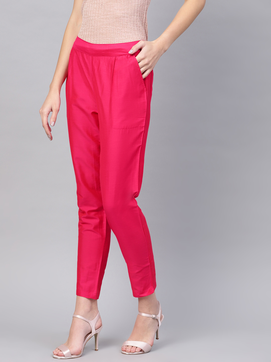Magenta Pink Cotton Silk Ankle Pant-34266