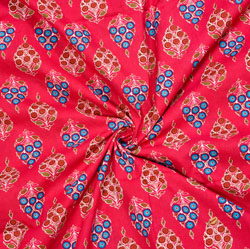 Magenta-Pink Cyan and Brown Floral Cotton Fabric-28088