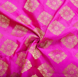 Magenta-Pink Golden Checks Brocade Silk Fabric-12411