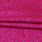 Magenta Pink Golden Checks Zari Brocade Silk Fabric-9287