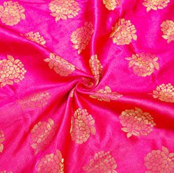 Magenta-Pink Golden Floral Brocade Silk Fabric-12375