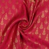 Magenta Pink Golden Music Instrument Brocade Silk Fabric-9344