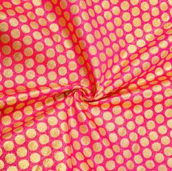 Magenta-Pink Golden Polka Brocade Silk Fabric-12479