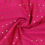 Magenta Pink Golden Polka Brocade Silk Fabric-9354