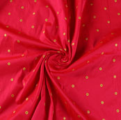 Magenta Pink Golden Zari Dot Silk Fabric-9462