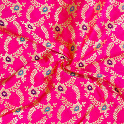 Magenta-Pink Golden and Blue Floral Brocade Silk Fabric-12541