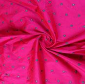 Magenta Pink Golden and Blue Zari Dot Silk Fabric-9471