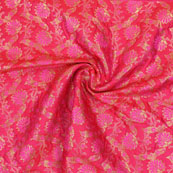 Magenta Pink Pink and Golden Floral Brocade Silk Fabric-9101