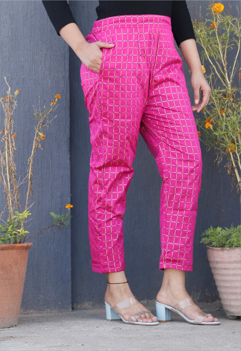 Magenta Pink White Brocade Silk Ankle Women Check Pant-34326