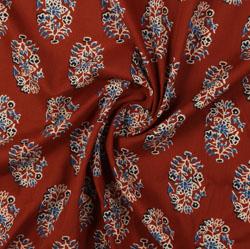 Maroon Beige Block Print Cotton Fabric-16053