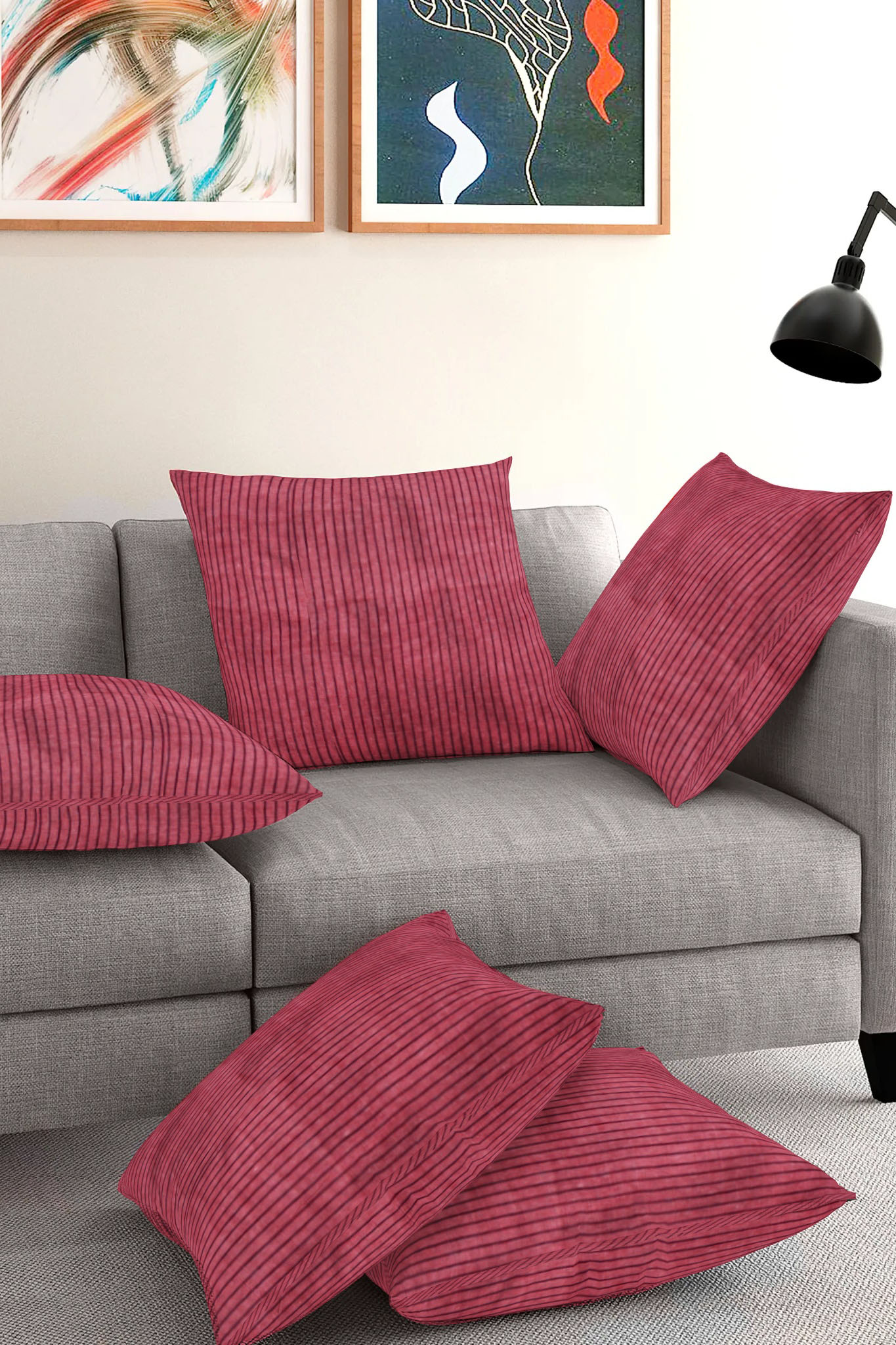 Set of 5-Maroon Black Cotton Cushion Cover-35379-16x16 Inches