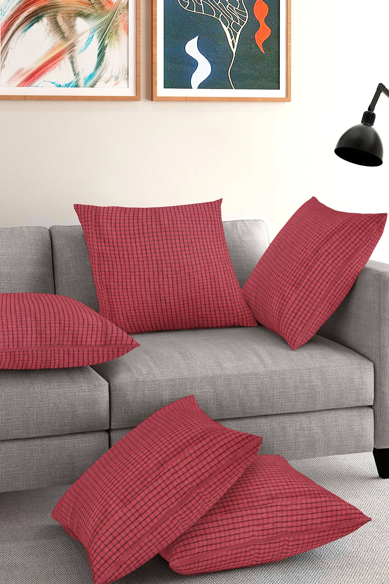 Set of 5-Maroon Black Cotton Cushion Cover-35412-16x16 Inches