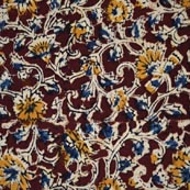 Maroon Blue Beige and Yellow Kalamkari Cotton Fabric by the Yard