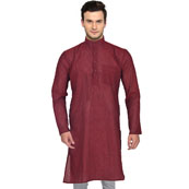 Maroon Cotton Plain Handloom Long Kurta-33149