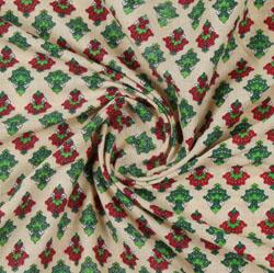 Maroon Cream Block Print Cotton Fabric-16124