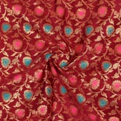 Maroon Cyan Pink and Golden Floral Brocade Silk Fabric-9284