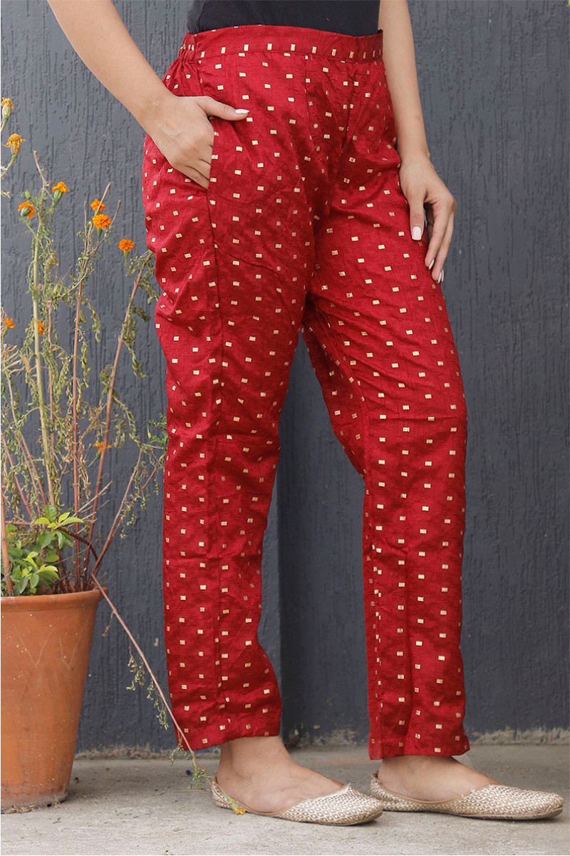 Maroon Golden Brocade Silk Ankle Women Pant-34202
