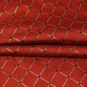 Maroon Golden Checks Zari Brocade Silk Fabric-9292
