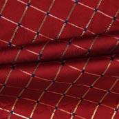 Maroon Golden Checks Zari Brocade Silk Fabric-9298