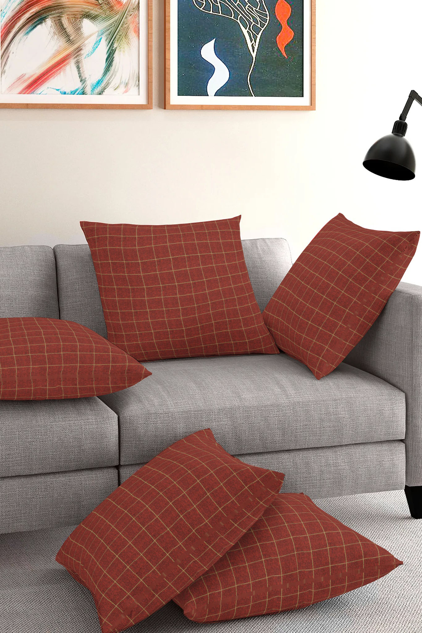 Set of 5-Maroon Golden Cotton Cushion Cover-35411-16x16 Inches