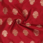 Maroon Golden Floral Brocade Silk Fabric-9107