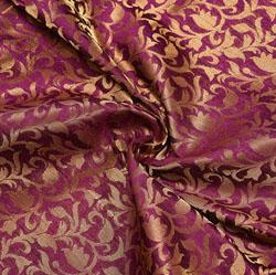 Maroon Golden Floral Chanderi Zari Silk Fabric-12146