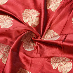 Maroon Golden Flower-Pot Brocade Silk Fabric-12447