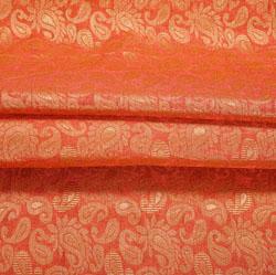 Maroon Golden Paisley Brocade Silk Fabric-12504