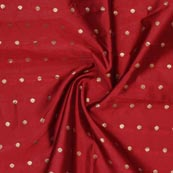 Maroon Golden Polka Brocade Silk Fabric-9353