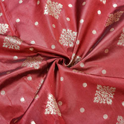 Maroon Golden Rectangle Brocade Silk Fabric-12488