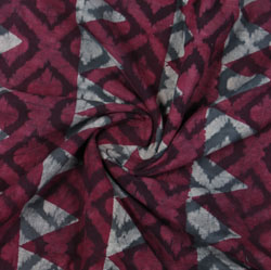 Maroon Gray Block Print Cotton Fabric-16114