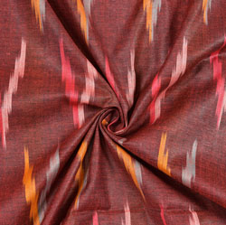 Maroon Gray and Yellow Ikat Cotton Fabric-11118