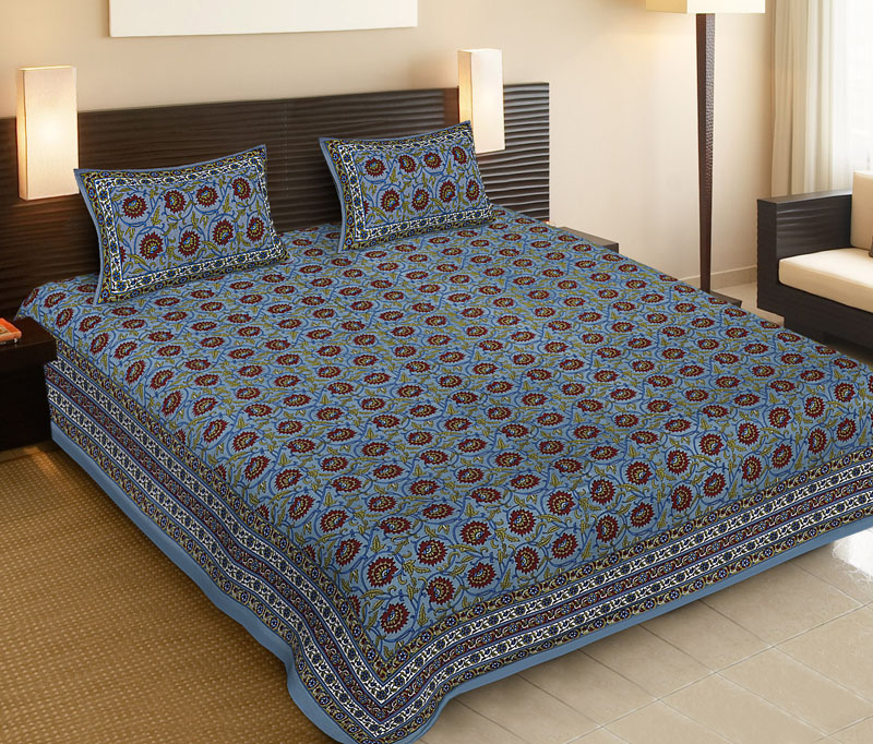 Maroon Light Blue Cotton Jaipuri Bedsheet-520