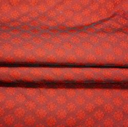 Maroon Red Polka Brocade Silk Fabric-12517