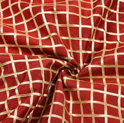 Maroon Silver Checks Gota Brocade Silk Fabric-12294