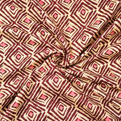 Maroon White Abstract Block Print Cotton Fabric-28420