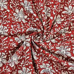 Maroon White Floral Block Print Cotton Fabric-28425